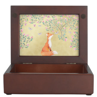 Fox with Butterflies and Pink Flowers Keepsake Box