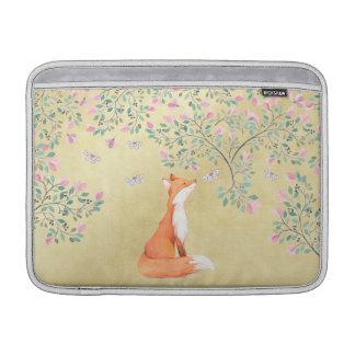 Fox with Butterflies and Pink Flowers MacBook Air Sleeves