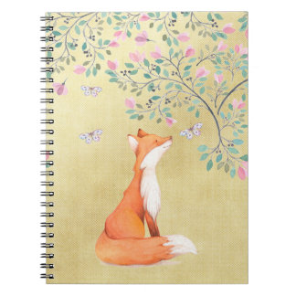 Fox with Butterflies and Pink Flowers Notebook