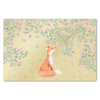 Fox with Butterflies and Pink Flowers Tissue Paper