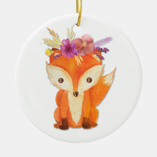 Fox with Flower Crown Ceramic Ornament