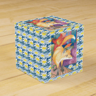 fox with white daisies gift box party favour box