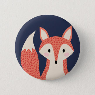 Fox woodland wild animal red orange smart fox 6 cm round badge