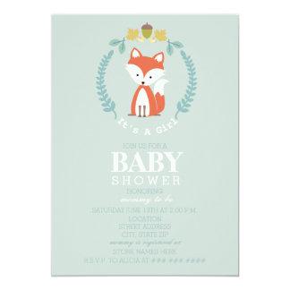 Fox Wreath Baby Shower - Girl 13 Cm X 18 Cm Invitation Card