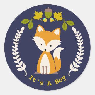 Fox Wreath Boy Baby Shower Classic Round Sticker