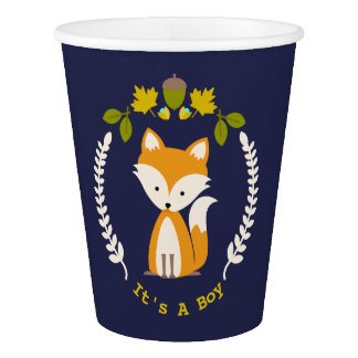 Fox Wreath Boy Baby Shower Paper Cup