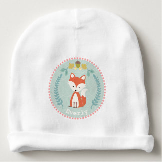 Fox Wreath Personalized Baby Beanie
