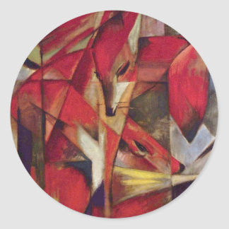 Foxes by Franz Marc, Vintage Abstract Cubism Classic Round Sticker