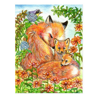Foxes Cuddling In Flower Patch Postcard