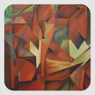 Foxes -  Homage to Franz Marc (1913) Square Sticker
