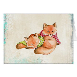 Foxes in Scarves Christmas Card