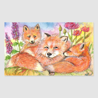 Foxes in the Flower Patch Rectangular Sticker