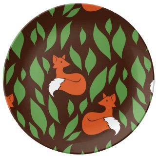 Foxes in the Woodland pattern Porcelain Plates