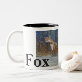 Foxes. Jumping Fox in Snow. Two-Tone Coffee Mug