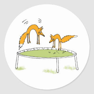 Foxes on Trampoline Round Stickers