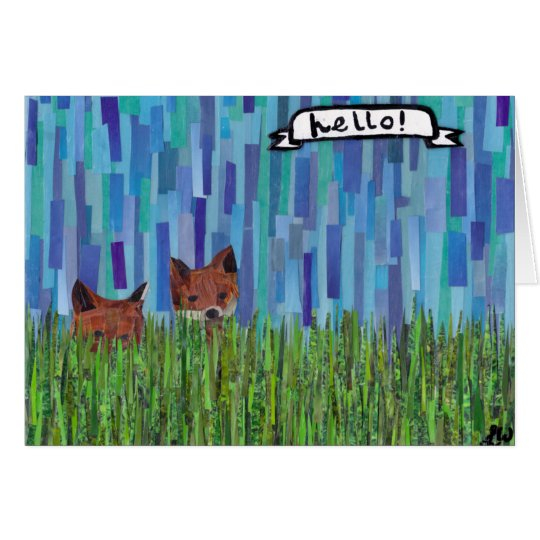 foxes say hello card