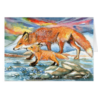 Foxes Walking by Riverbank Card