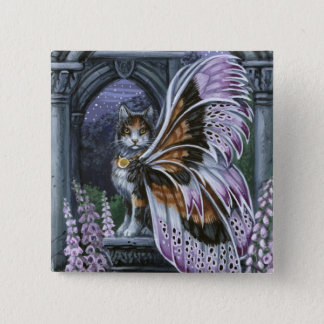Foxglove Calico Winged Cat Pinback Button