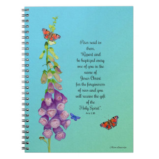 Foxglove Flower Watercolor Butterflies Bible Verse Notebook