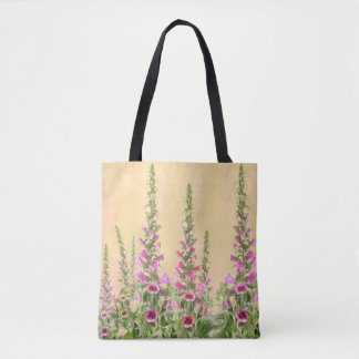 Foxglove flowers tote bag