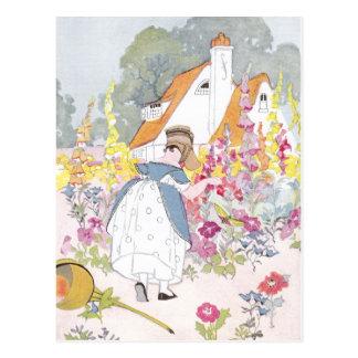 Foxglove Garden, Cottage and Handcart Postcard