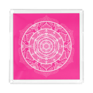 Foxglove Mandala Acrylic Tray