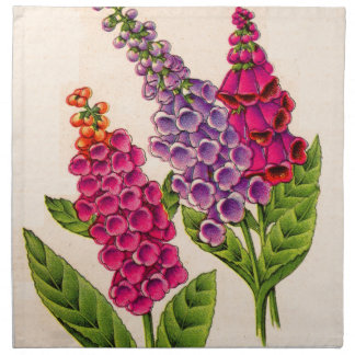 foxgloves in red and purple napkin