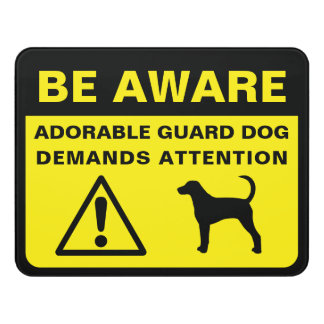 Foxhound Silhouette Funny Guard Dog Warning Sign