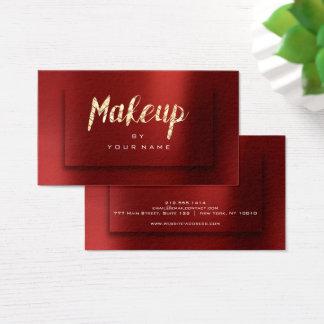 Foxier Gold Burgundy Typograph Makeup Artist 3D Business Card