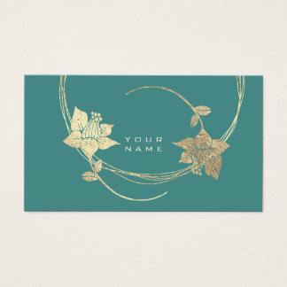 Foxier Gold Floral Teal Green Glam Business Card