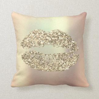 Foxier Gold Glitter Kiss Lips Glam Makeup Copper Throw Pillow