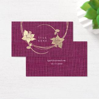 Foxier Gold Ivory Floral Metallic Linen Burgundy Business Card