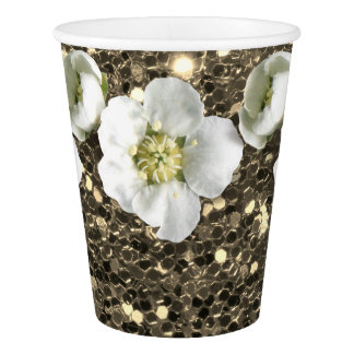 Foxier Gold Sepia Glitter Flower White Jasmine Paper Cup