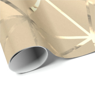 Foxier Gold Triangles Diamond Cut Hexagon Geometry Wrapping Paper