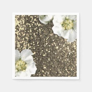 Foxier Sepia Gold Sparkly Jasmine Glitter Sequin Paper Napkin
