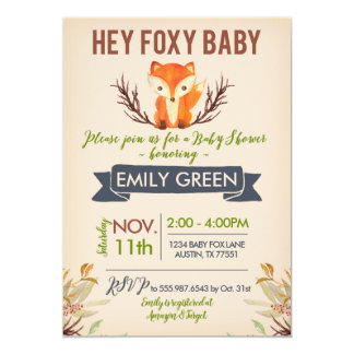 Foxy Baby Shower Invitation Woodland Forest Fox