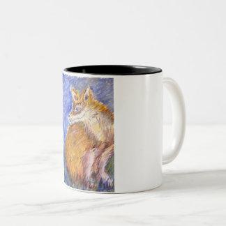 Foxy evening Two-Tone coffee mug