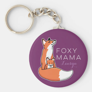 Foxy Fox Mama with Baby, Personalized Basic Round Button Key Ring