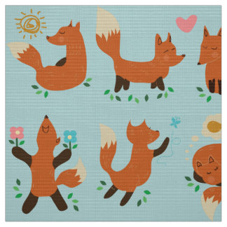 foxy foxes fabric pattern retro