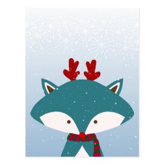 Foxy Get Trendy For Christmas Postcard