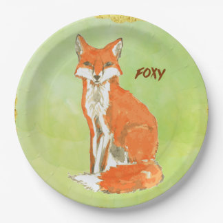Foxy Ginger Fox Watercolor 9 Inch Paper Plate