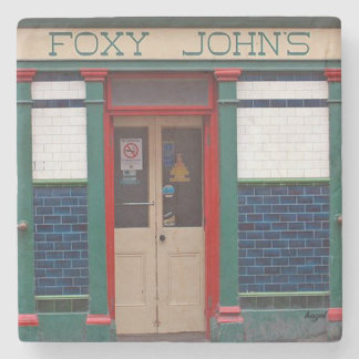 Foxy John's, Dingle, Irish Pub Marble Coaster. Stone Coaster