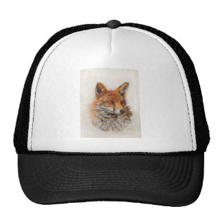 Foxy Lady red fox painting Cap