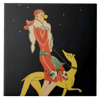 Foxy Lady with Dog - 1930s illustration Tile