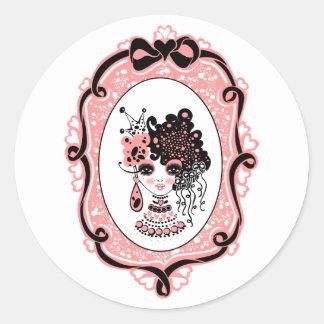 foxy lulu black-pink round sticker