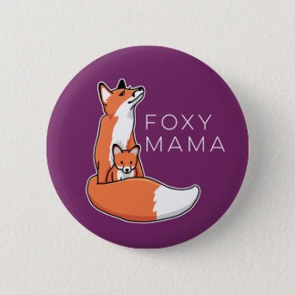 Foxy Mama Red Fox with Pup 6 Cm Round Badge