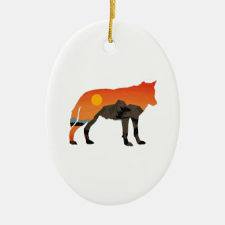 Foxy Sunset Ceramic Ornament