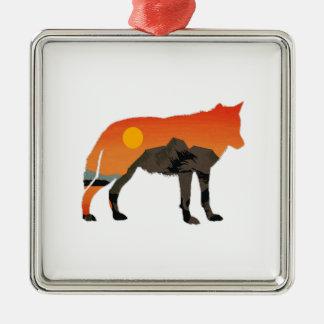 Foxy Sunset Metal Ornament