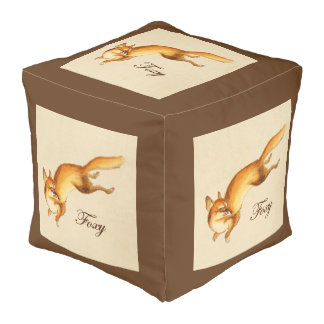 """Foxy"" - Vintage Japanese sketch of a fox Pouf"