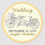 {FP} Tandem Bicycle Wedding Invite Seal (yellow)